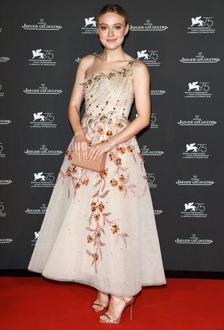 How to wear: beige embellished mesh evening dress, gold leather heeled sandals, tan leather clutch, gold bracelet