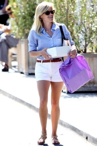 How to Wear a Light Blue Dress Shirt For Women: For an ensemble that's pared-down but can be modified in a ton of different ways, go for a light blue dress shirt and white shorts. Up the wow factor of this ensemble by rounding off with a pair of beige leather flat sandals.