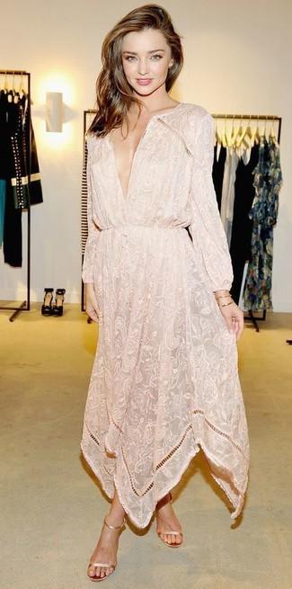 Miranda Kerr wearing Beige Floral Maxi Dress, Gold Leather Heeled Sandals, Gold Bracelet