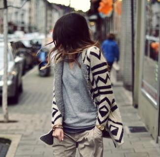 Beige geometric open cardigan grey v neck sweater beige chinos large 877