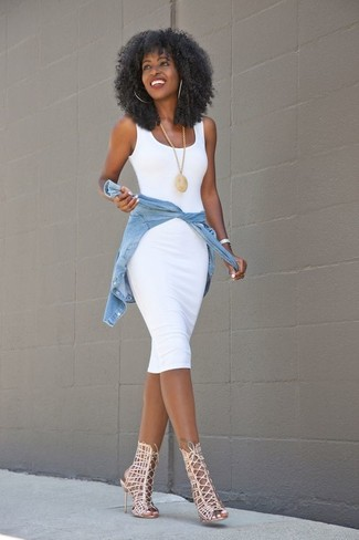 How to wear: gold pendant, beige leather gladiator sandals, light blue denim shirt, white bodycon dress