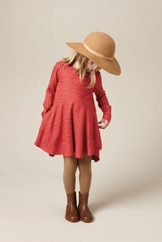 How to wear: brown tights, beige hat, brown leather boots, red dress