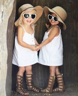 How to wear: beige hat, brown sandals, white dress