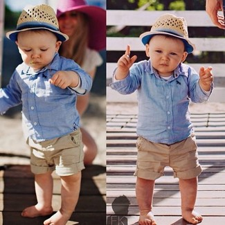 How to wear: beige hat, tan shorts, light blue long sleeve shirt