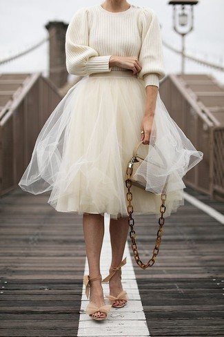 How to wear: beige leather crossbody bag, beige suede heeled sandals, beige tulle full skirt, beige crew-neck sweater