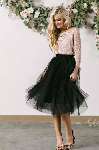 How to wear: clear necklace, beige leather heeled sandals, black mesh midi skirt, beige lace long sleeve blouse