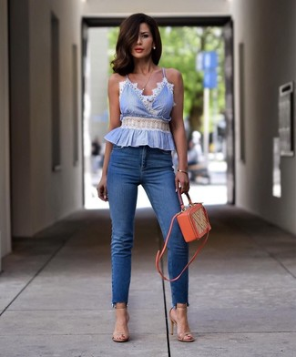 How to wear: orange leather crossbody bag, beige leather heeled sandals, blue skinny jeans, light blue sleeveless top