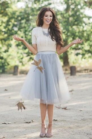 How to wear: grey necklace, beige leather heeled sandals, grey tulle full skirt, beige cropped sweater