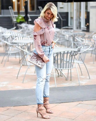 How to wear: pink sequin clutch, beige suede heeled sandals, light blue ripped jeans, pink floral long sleeve blouse