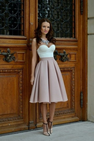 How to wear: clear necklace, beige leather heeled sandals, pink full skirt, white bustier top