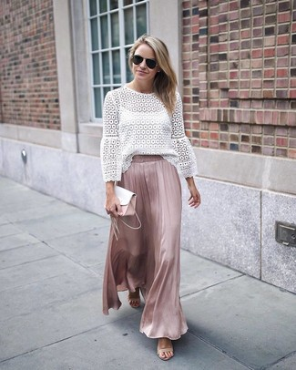How to wear: white leather clutch, beige leather heeled sandals, pink pleated silk maxi skirt, white lace long sleeve blouse