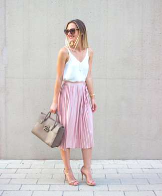 How to wear: grey leather satchel bag, beige leather heeled sandals, pink pleated midi skirt, white silk sleeveless top