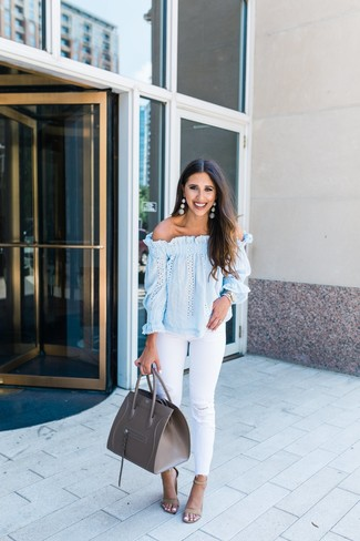 How to wear: grey leather tote bag, beige suede heeled sandals, white ripped jeans, light blue off shoulder top