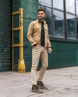 How to wear: dark green canvas casual boots, beige jeans, dark green crew-neck sweater, tan shirt jacket