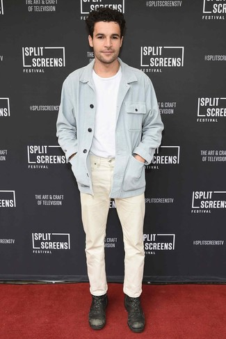 How to wear: dark brown leather casual boots, beige jeans, white crew-neck t-shirt, light blue shirt jacket