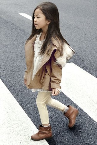 How to wear: brown boots, beige jeans, white sweater, tan jacket