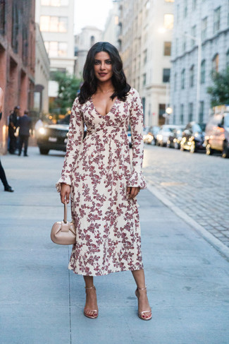 How to wear: beige leather handbag, gold leather heeled sandals, white and red floral midi dress