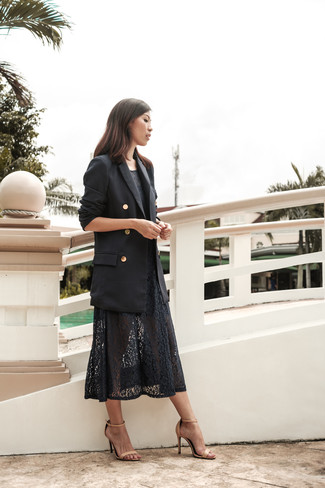 How To Wear a Midi Dress With a Double Breasted Blazer: The best foundation for knockout casual style? A double breasted blazer with a midi dress. All you need now is a cool pair of beige leather heeled sandals.