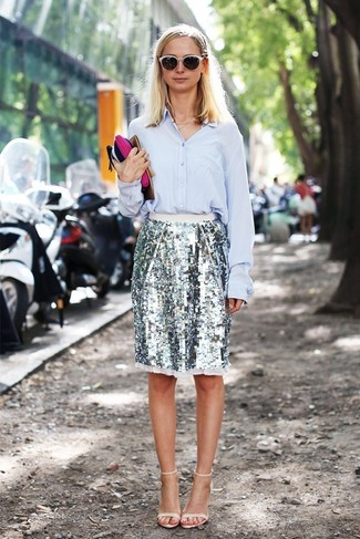 How to wear: beige leather heeled sandals, silver sequin pencil skirt, light blue dress shirt