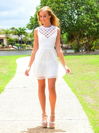 How to wear: beige leather heeled sandals, white cutout skater dress