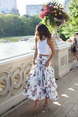 How to wear: beige leather heeled sandals, white floral maxi skirt, white cropped top