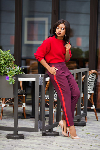 How to wear: beige leather pumps, purple tapered pants, red sweatshirt