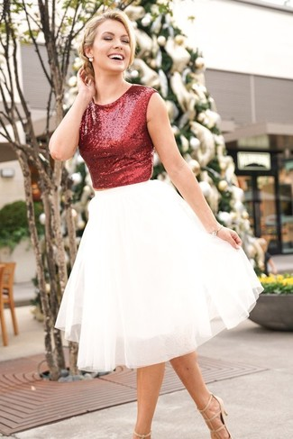 How to wear: beige leather pumps, white tulle full skirt, red sequin cropped top