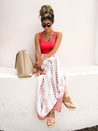 How to wear: beige leather tote bag, tan leather thong sandals, white and pink print maxi dress
