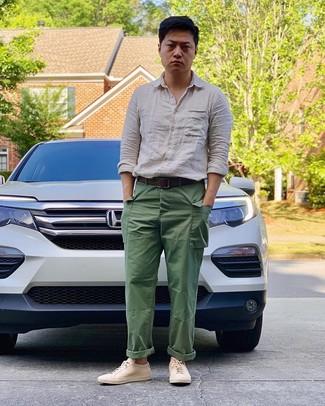 How to wear: dark brown leather belt, beige leather low top sneakers, green cargo pants, beige linen long sleeve shirt