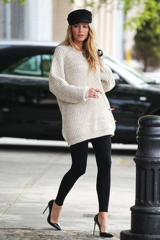 How To Wear A Beige Oversized Sweater With Black Leggings 10 Looks