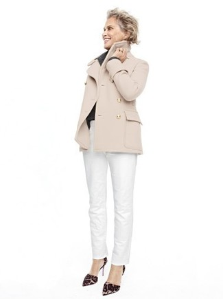 Lauren Hutton wearing Beige Pea Coat, White Chinos, Dark Brown Leopard Suede Pumps
