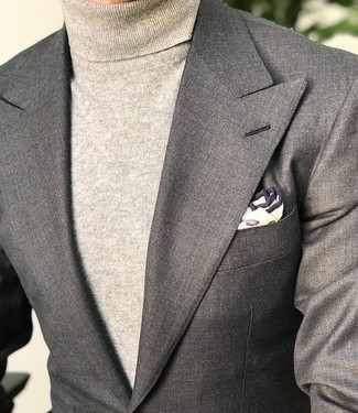 How to wear: beige print pocket square, beige turtleneck, grey blazer