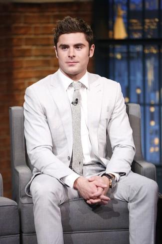 How to wear: beige print tie, white dress shirt, beige suit