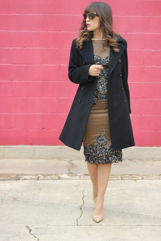 How to wear: brown sunglasses, beige leather pumps, brown embellished sheath dress, black coat