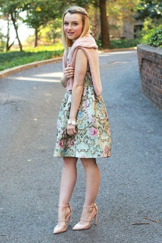 How to wear: white bracelet, beige leather pumps, mint floral fit and flare dress, pink cable sweater