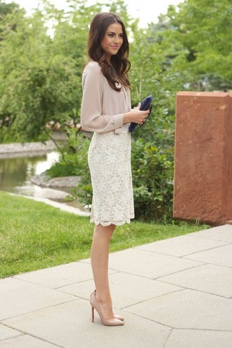 How to wear: navy leather clutch, beige leather pumps, white lace pencil skirt, beige button down blouse