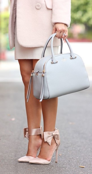 How to wear: light blue leather satchel bag, beige satin pumps, white sweater dress, pink coat