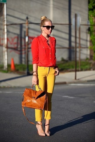 How to wear: tan leather satchel bag, beige leather pumps, yellow skinny pants, red dress shirt