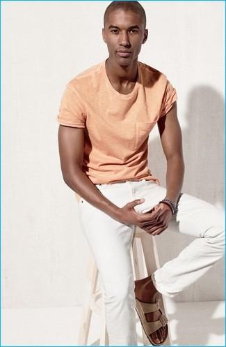 How to wear: navy bracelet, beige suede sandals, white jeans, orange crew-neck t-shirt
