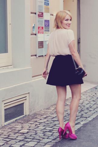 How to wear: beige short sleeve blouse, black skater skirt, hot pink satin pumps, black quilted leather crossbody bag