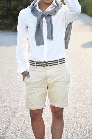 How to wear: white and black horizontal striped canvas belt, beige shorts, white dress shirt, grey crew-neck sweater