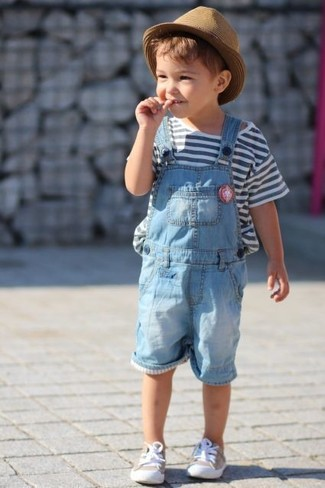 How to wear: tan hat, beige sneakers, light blue overalls, white horizontal striped t-shirt