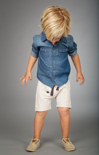 How to Wear Beige Sneakers For Boys: Wearing a blue denim long sleeve shirt and white shorts is a nice fashion option for your little angel. As far as footwear is concerned, suggest that your little one opt for a pair of beige sneakers.