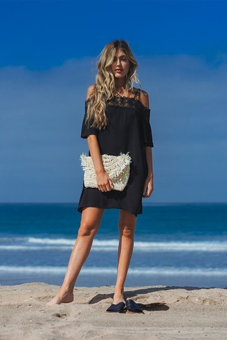 How to wear: beige straw clutch, black leather flat sandals, black lace off shoulder dress