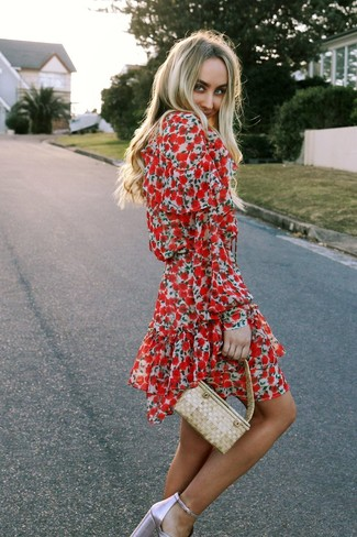 How to wear: beige straw handbag, pink leather heeled sandals, red floral skater dress