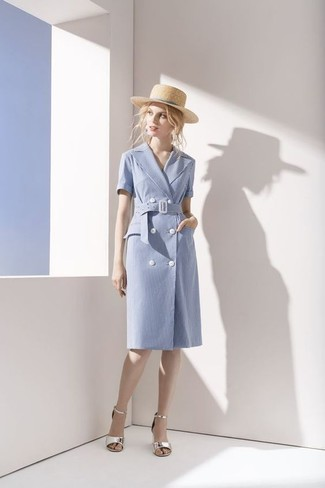 How to wear: beige straw hat, silver leather heeled sandals, light blue cotton wrap dress