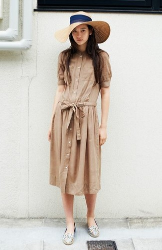 How to wear: beige straw hat, white print leather espadrilles, tan shirtdress