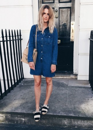 How to wear: beige suede satchel bag, white and black horizontal striped espadrilles, navy denim playsuit
