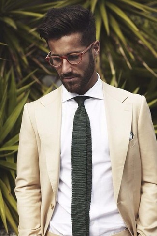 How to wear: beige suit, white dress shirt, dark green knit tie, white and black plaid pocket square