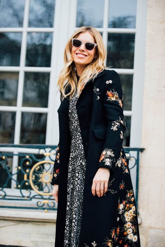 How to wear: beige sunglasses, black and white floral midi dress, black floral coat